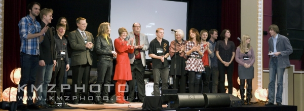 The speakers and the team of TEDxTartu on stage