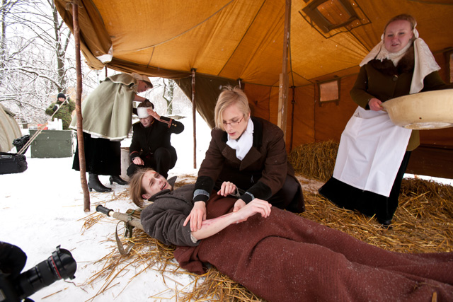 Reconstruction: Nikolay Pirogov operates on a wounded soldier