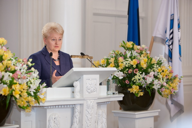 President of Lithuania gives a speech at UT