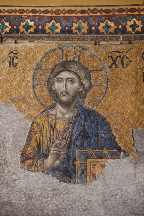Icon of Jesus Christ at the Aya Sofya cathedral in Istanbul, Turkey