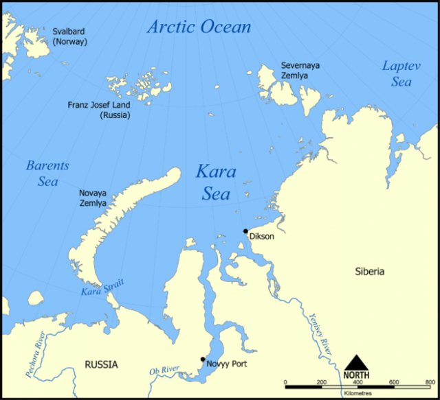 Kara Sea map