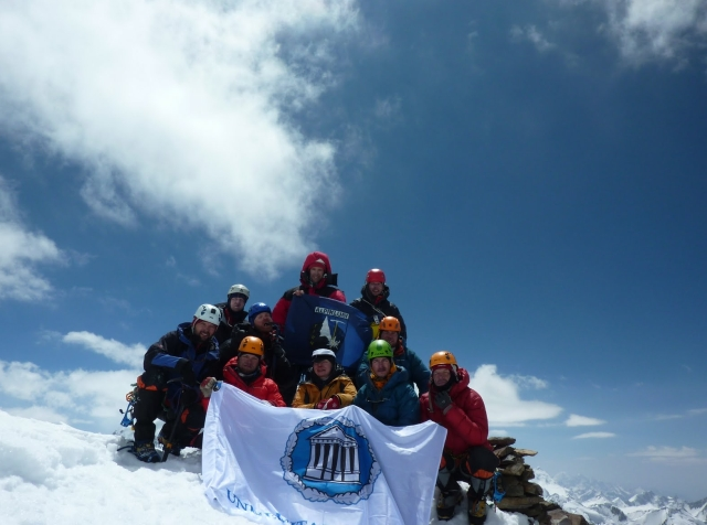 at the top of Mt. Tartu University in the Central Pamirs