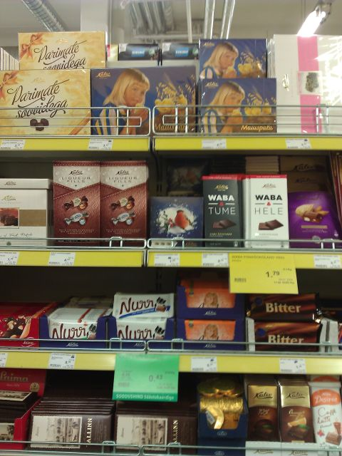 Kalev chocolates in a local supermarket in Tartu