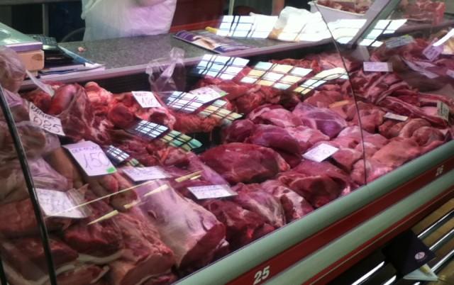Meat stand at Tartu market.