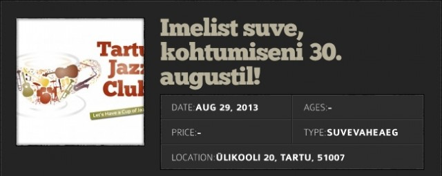 Tartu Jazz Club: vacation note