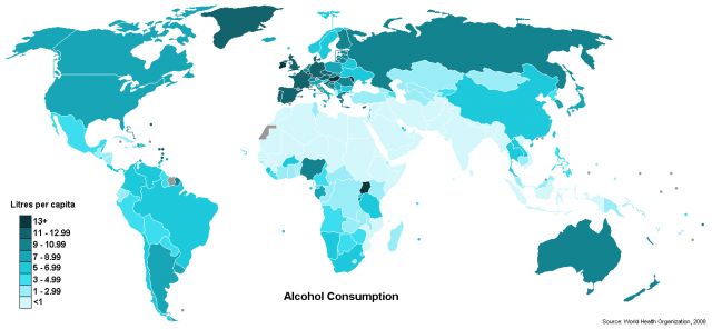 Alcohol consumption map