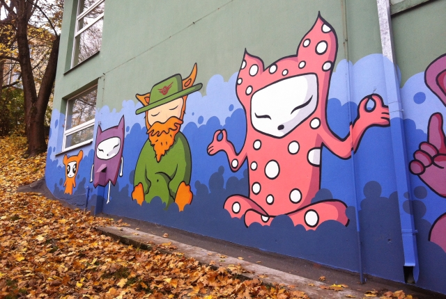 Graffiti of meditating creatures