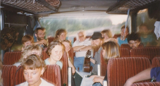 International students on a bus trip to Latvia in 1992