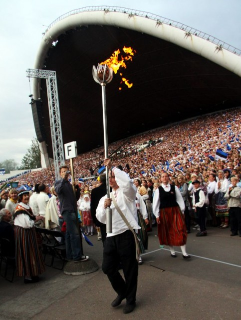 Lighting of the Song Festival fire.