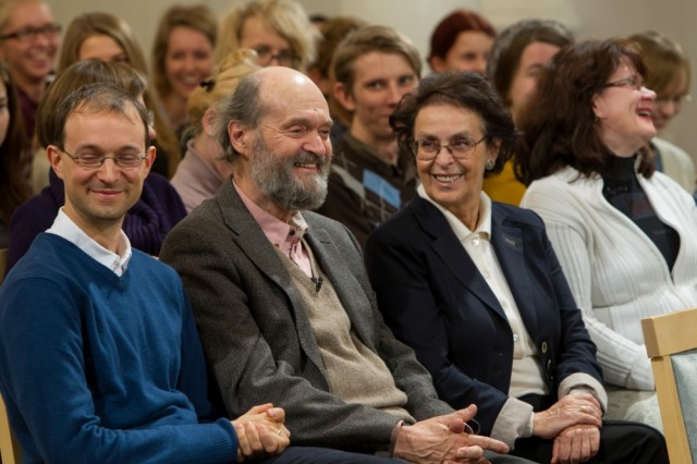 Arvo Pärt and students at the University of Tartu
