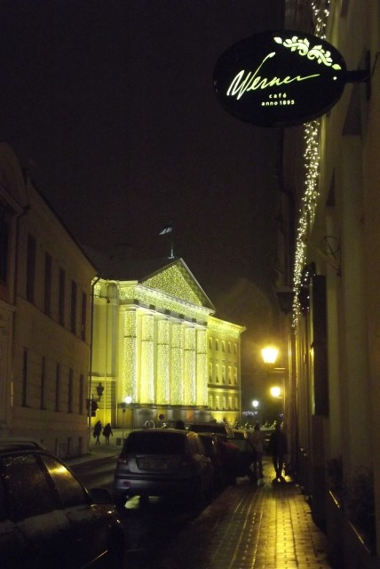 University of Tartu in holiday lights