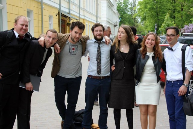 Lena Sologub with her fellow students