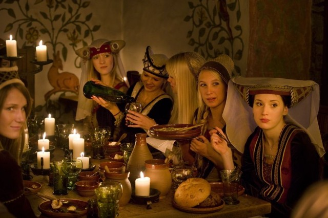 A feast in a medieval restaurant