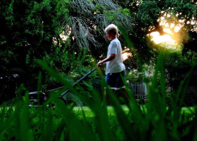 Michael mowing