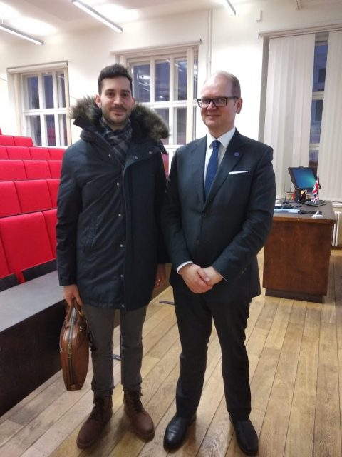 The author with the Chief of State Protocol, Mr. Lauri Bambus