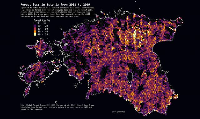 Map: forest loss in Estonia
