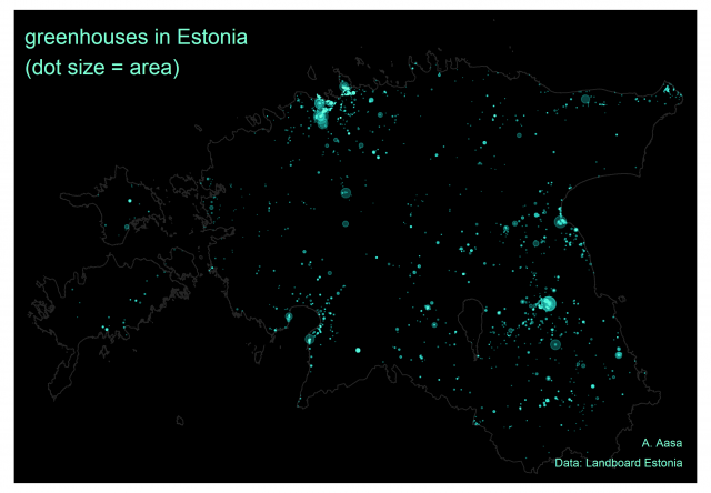 Map: greenhouses in Estonia