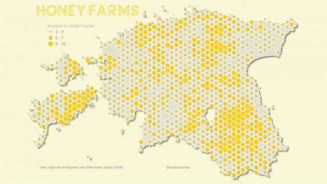 Map: honey farms in Estonia