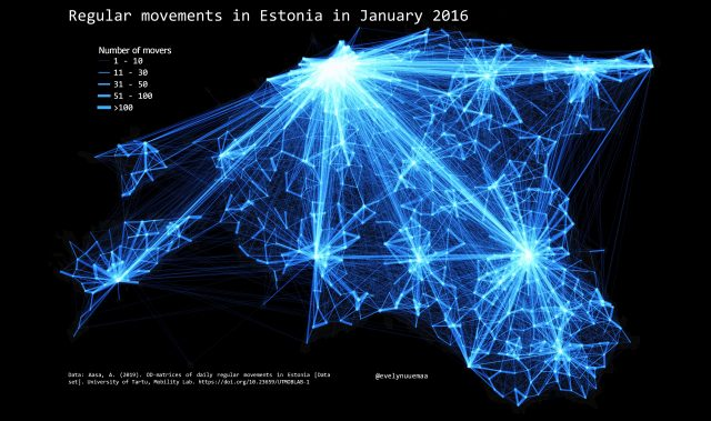 Map: regular movement in Estonia