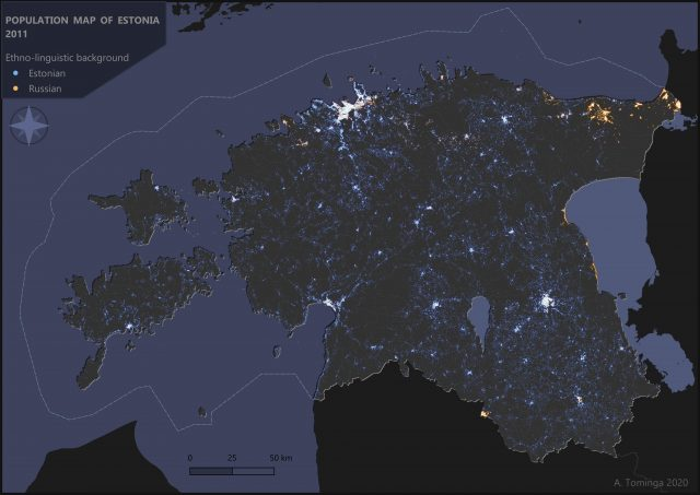 Map: Estonians and Russians in Estonia