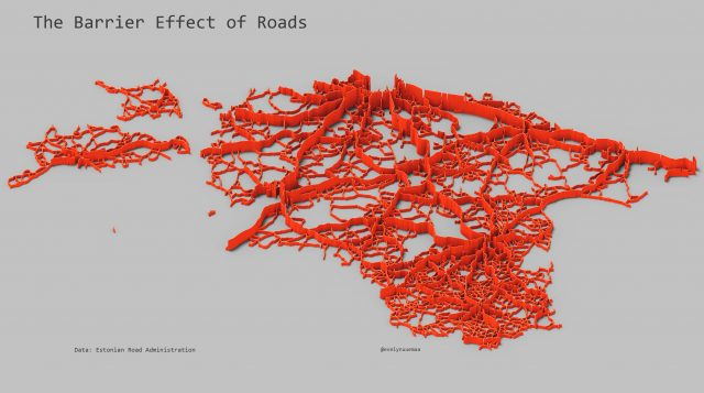 Map: the barrier effect of roads