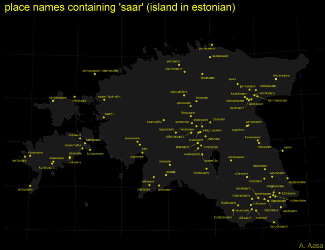 "Map:  place names containing ""saar"" (""island"" in Estonian)"