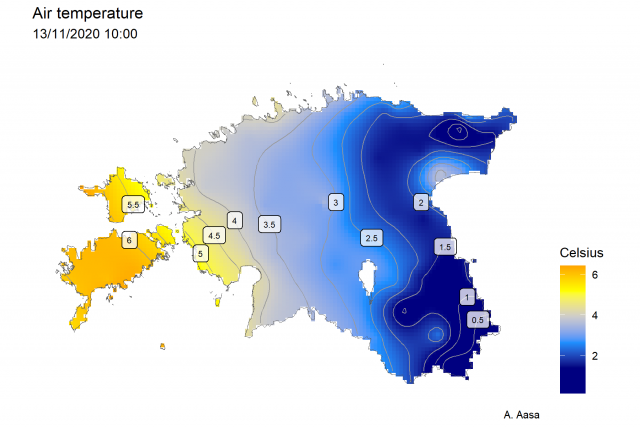 Map: variation of temperature in Estonia