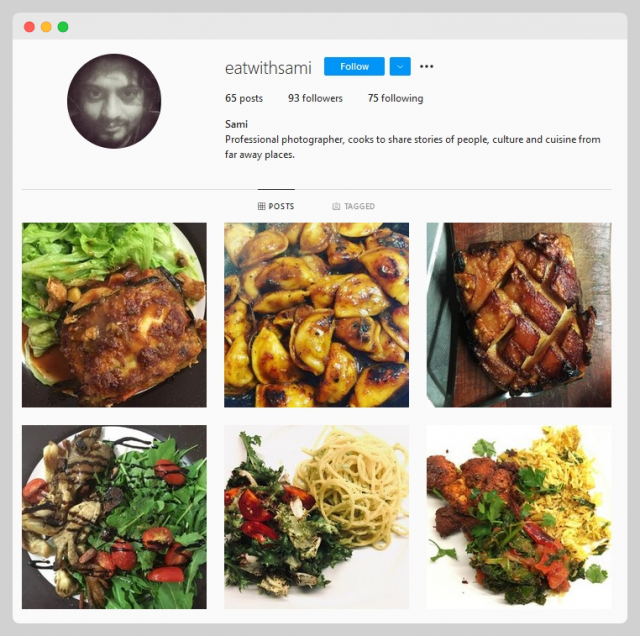 A screenshot of Sami Siva's food-themed Instagram
